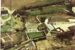 Pre-1985. Aerial view of Village Farm, Church Lane.
