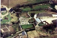 Pre-1985. Aerial view of Village Farm, Church Lane.