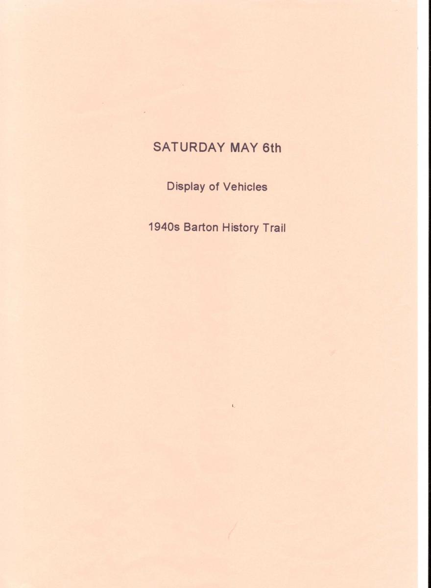 Saturday May 6th - Display of Vehicles.