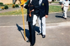 7 May V.E. Day Parade, Service and Presentation of commemorative coins. Nobby Clarke (with flag) and Dave Shirley.