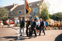 7 May V.E. Day Parade. L to R: Dave Shirley, Nobby Clarke, Horace Wood, Peggy Gregory and Nigel Wood.