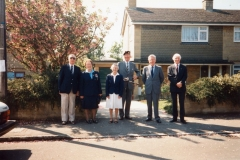 7 May V.E. Day Parade. L to R: Bob Adams, Jessie Newman, Mabel Eaglestone, Robin Fleming, Harry Imbert and Robert Pim.