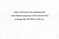 7 May V.E. Day commemoration. Order of service for the ceremony - 1.