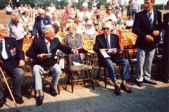 20 August 1995 V.J. Day Parade, Service and Children's party. Left to right: ?, Harry Imbert, Bob Adams, Dave Shirley.