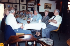 20 August 1995 V.J. Royal British Legion lunch. RHS of table, from the right: Jeff Jeffries, Ross Jeffries, Harry Imbert, Barbara Wood, Horace Wood, Pauline Adams, Bob Adam,  JoAnne Davies.