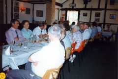 20 August 1995 V.J. Royal British Legion lunch. LHS side of table: Dave Shirley, Jesse Newman and Mick Broome. RHS of table, from the left: Jeff Jeffries, Ross Jeffries, Harry Imbert, Barbara Wood, Horace Wood, Pauline Adams, Bob Adams,  JoAnne Davies.