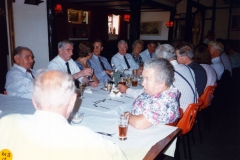 20 August 1995 V.J. Royal British Legion lunch. LHS of table: Ievan Evans, Johnnie Brooks, JoAnne Davies, John Cameron, Bob Adams, Pauline Adams, Horace Wood. RHS of table, left to right: Mr and Mrs Butler, Horace Wood?, Reverend Tony Davies., ?, ?.
