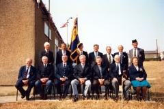 20 August 1995 V.J. Royal British Legion. Back row: Robert Pim, Dave Shirley, Nobby Clark, Horace Wood, ?, Nigel Wood, John Cameron. Front row: ?, Bob Adams, ? Harry Imbert, Tony Davis, ?, Jess Newman.