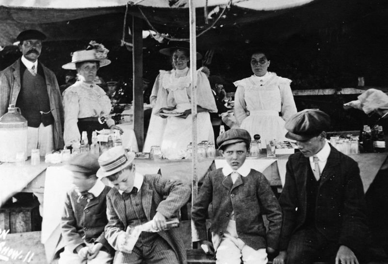 c. 1912 Flower Show. Back row: Walter and Gertrude Parsons. Front row: Charles Gooding, ano, ano.