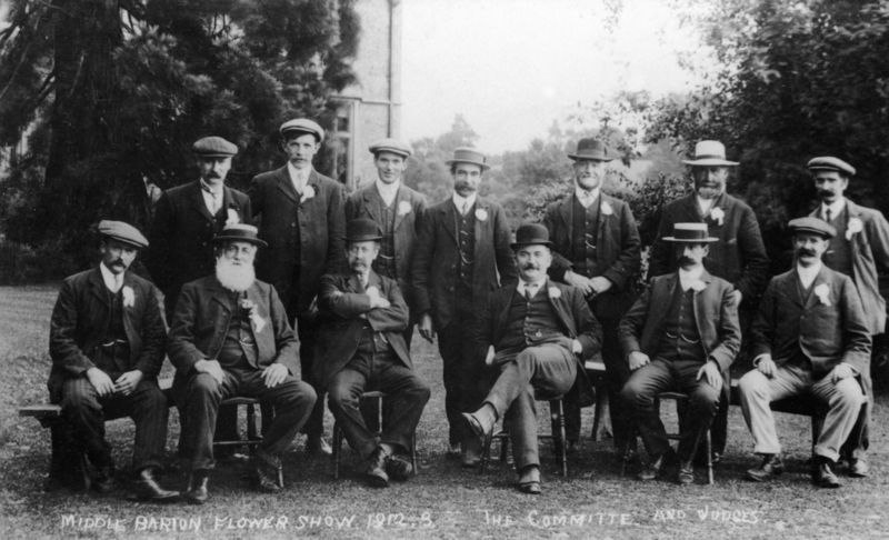 1912 Middle Barton Flower Show. The committee and judges. Back row l to r: Jackman, George Hopes, George Stockford, Percival Grimsley, William Holmes, William Brain?, Charles Marsh. Front row: Judges? Mr. Constable with white beard, second from left.