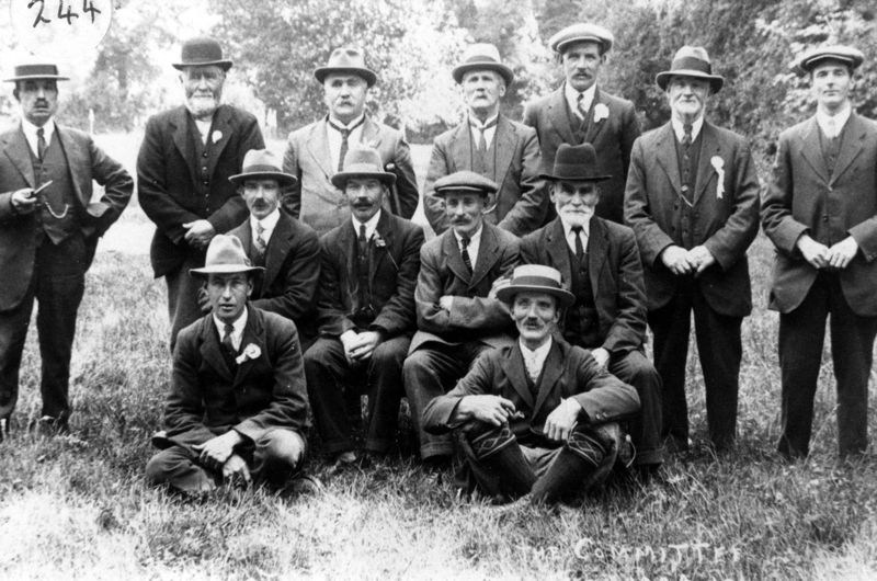 1920s at the Rectory. Back row: Percival Grimsley. William Brain, Phil Kirby, James Canty, George Hopes, William Holmes, George Stockford. Middle row: Jethro Callow, Samuel Clark, James Bassett. Front row: William Wheeler, George Brooks.