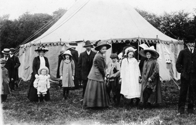 1912 Middle Barton Flower Show. Mr Constable with the beard.