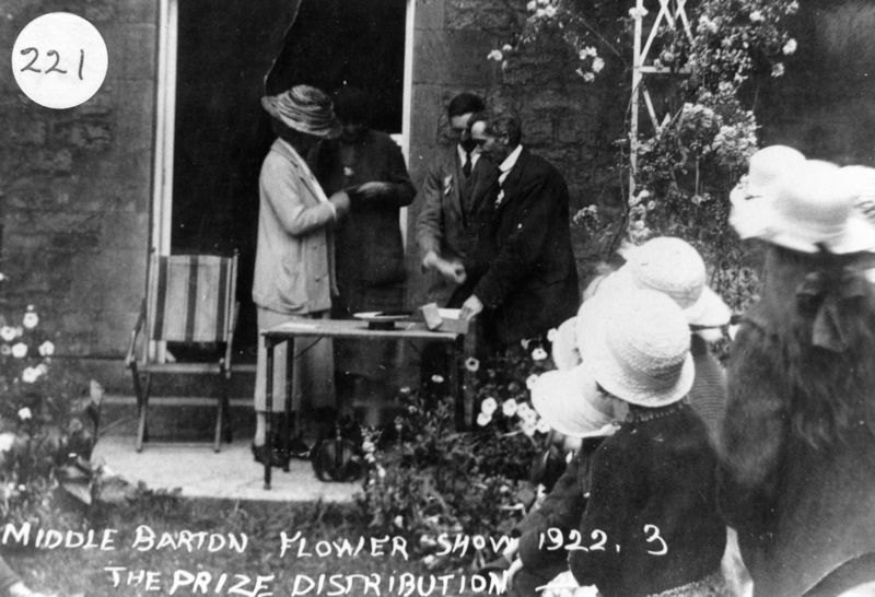 1922 Middle Barton Flower Show. The prize distribution.