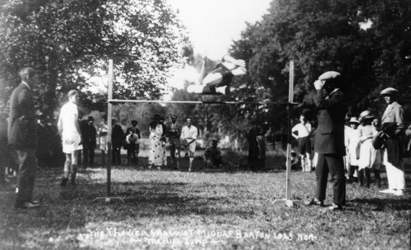 1923 Middle Barton Flower Show. The high jump.