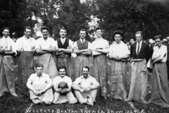 1924 Westcote Barton Flower Show. Back: Jack Cox, Owen Benfield, -, -, Tom Hazell, Sid Cox, Jack Shipperly, -, -, Bill Stockford, Bill Stewart. Front: Tom Stockford, Frank Gascoigne, Ronnie Riach.