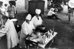 c. 1952. Barton Abbey fete. Kathleen Murray, Ada Stockford and 'Bubbles' Pratley.