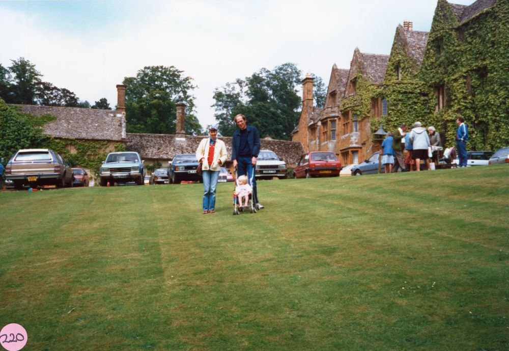 June 1987 Steeple Barton Church fete at Barton Abbey. Lucy and Martin Norton and Jack.