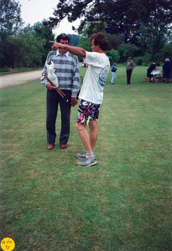 June 1989 Steeple Barton Church fete at Barton Abbey. Mr Peter Watts, Mr Jeff Woods.