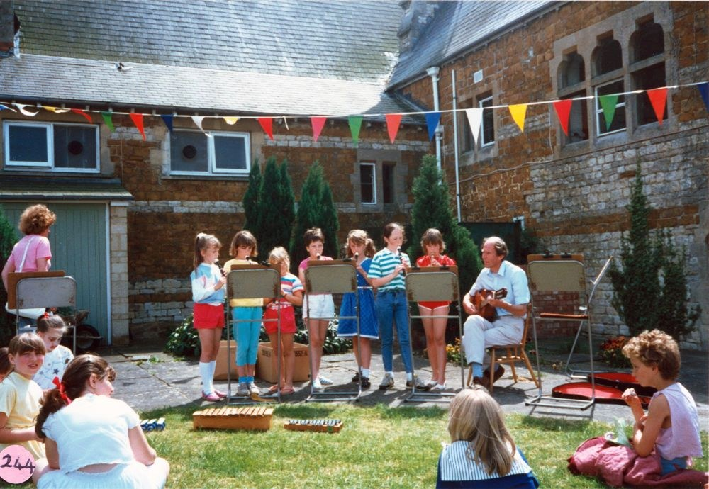 July 1987 Middle Barton School Fete - Recorder group. Martin Norton on the right.