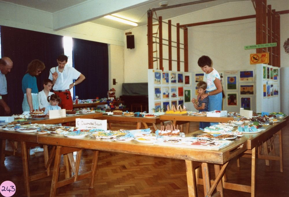 July 1987 Middle Barton School Fete - Exhibition of work for children's competitions.