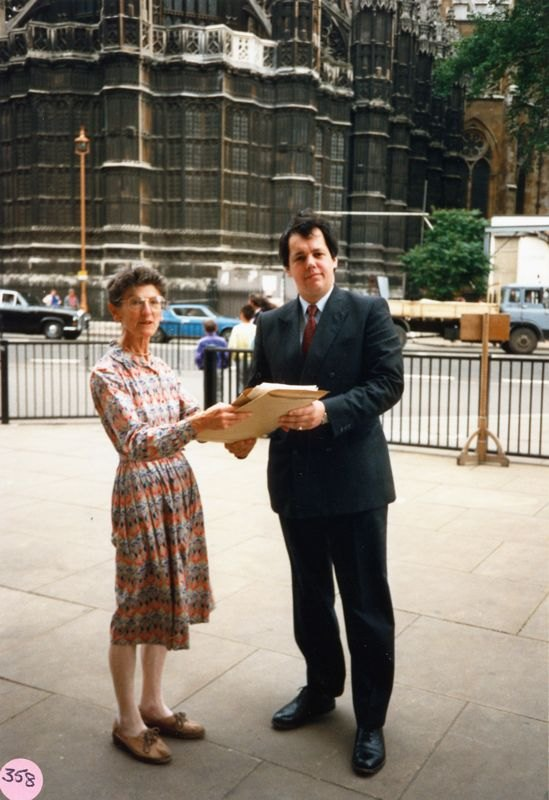 1988 Aircraft Petition. Audrey Martin handing over the aircraft petition to MP Tony Baldry in 1988.