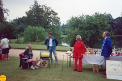 June 1989 Steeple Barton Church fete at Barton Abbey. Mrs Jeanne Allington, Mr Bob Adams.