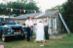 July 1987 Middle Barton School Fete - Public address system. Back: Chris Gregory and Martin Norton, Horace Wood,  his wife, Barbara, in foreground.