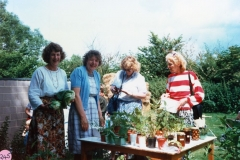 July 1987 Middle Barton School Fete - Anne Ryan, Barbara Clifton, Anna Madden and Joan Alexander.