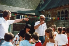 July 1987 Middle Barton School Fayre - Joyce Portlock and Chris Gregory.
