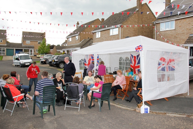 2012 June 2-5 The Queen's Diamond Jubilee celebrations  - Middle Barton Parade and Party.