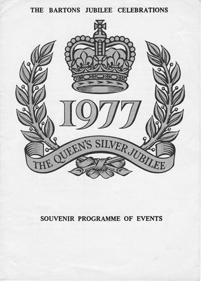 1977 The Bartons Jubilee Celebrations - Souvenir Programme of Events - front cover.