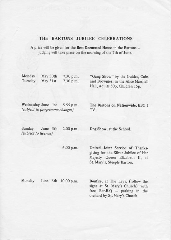 1977 The Bartons Jubilee Celebrations - Souvenir Programme of Events - inside front page.