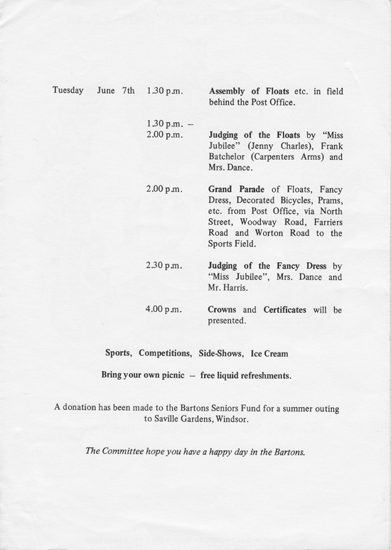 1977 The Bartons Jubilee Celebrations - Souvenir Programme of Events - second page.