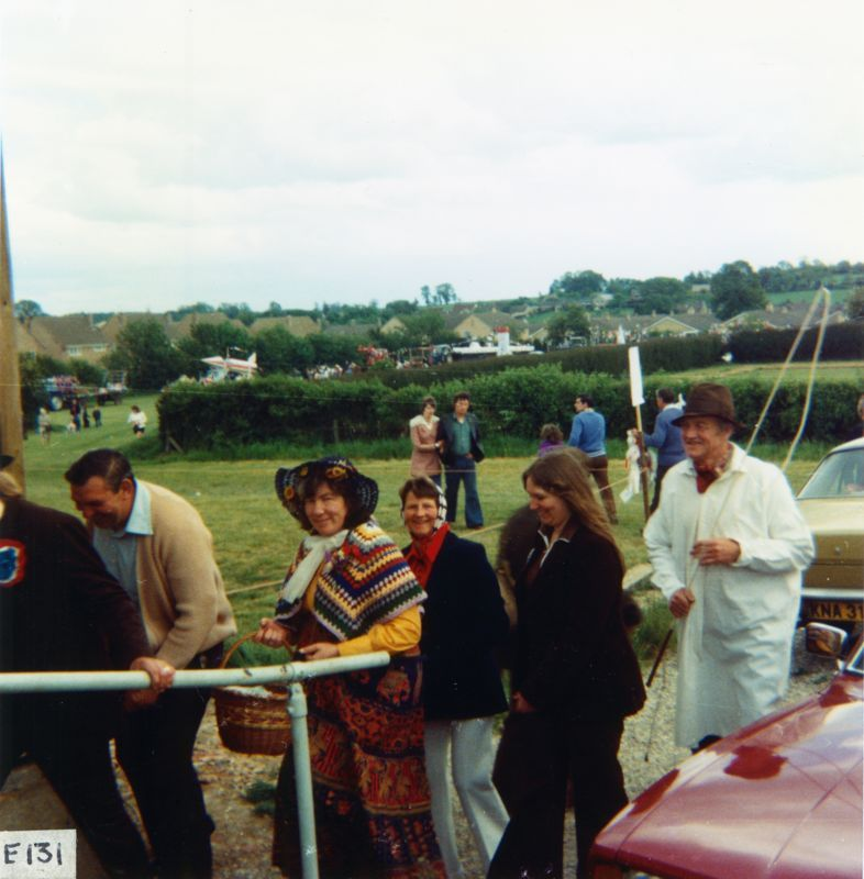June 7 1977 Silver Jubilee procession - Mrs. Crapper (red scarf), Sandra Steel (long hair) and Mr. Crapper (white overcoat).