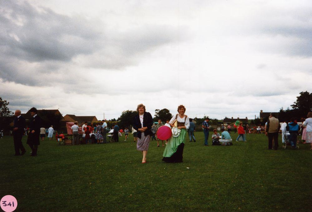 July 9 1988 Playing fields.Left: Ginny White. Julie Reed with the balloon.