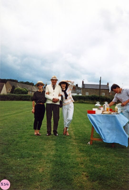 July 9 1988 Playing fields. Cricket match interval. Mr. Hawkins and Patricia Hawkins.