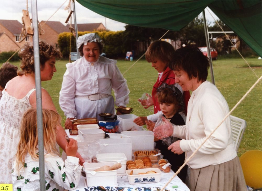 July 9 1988 Playing fields. Mrs. Amis, Ingrid Amis, Mrs. Peggy Gregory, Amanda Jeffries and Mrs. Ann Jeffries.