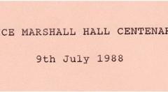July 9 1988 Alice Marshall Hall Centenary.