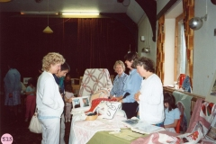 July 9 1988 Alice Marshall Hall Centenary. Dorn Quilters: Joan Nuttall, Joan Blamey, Patricia Richards. Looking on: Sue Godfrey and Barbara Baskerville.