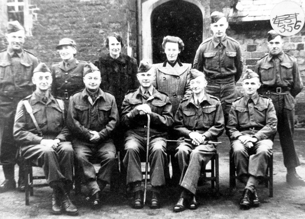 WW II l -> r back row: ?, ?, Katherine Morris, Joan Sullivan, ?, Whetton. Front row: ?Dunbar Kilburn, Tom Moulsdale, Jack Morris, Dr. Hodges, Frank Henderson.