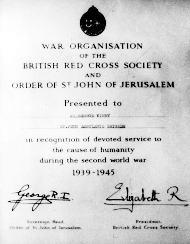 WW II George Kirby. Red Cross commendation.