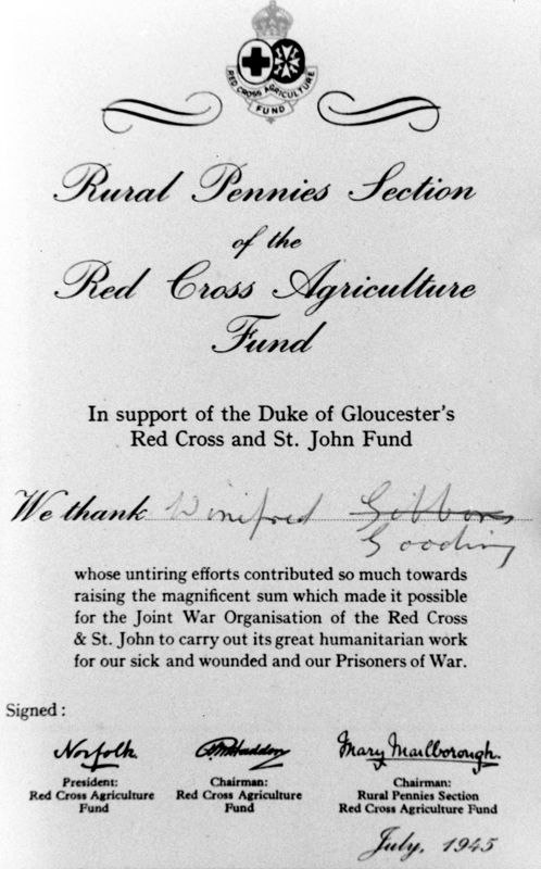 1945 Winifred Gooding - Red Cross commendation.