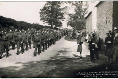 WW II - 1941. Church Parade passing Church Farm. Major P. Fleming leading the parade.