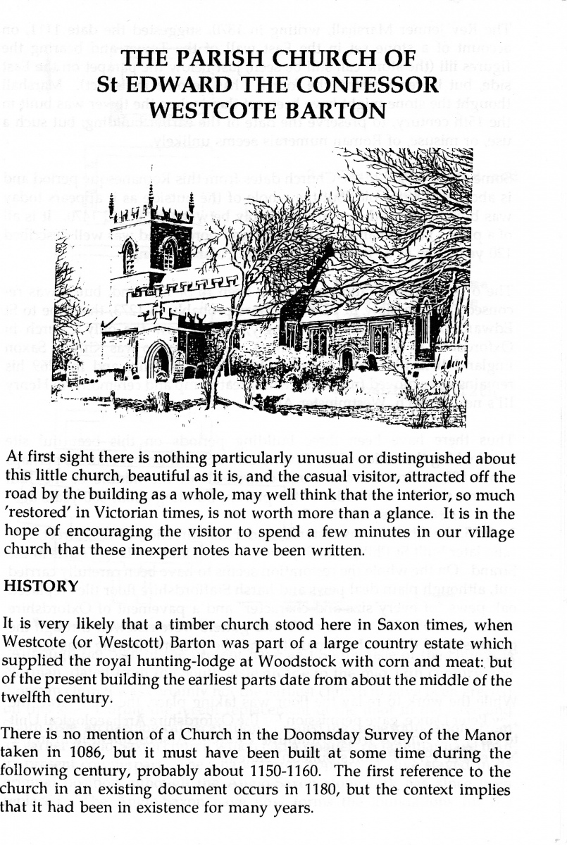 Westcote Barton church guide.