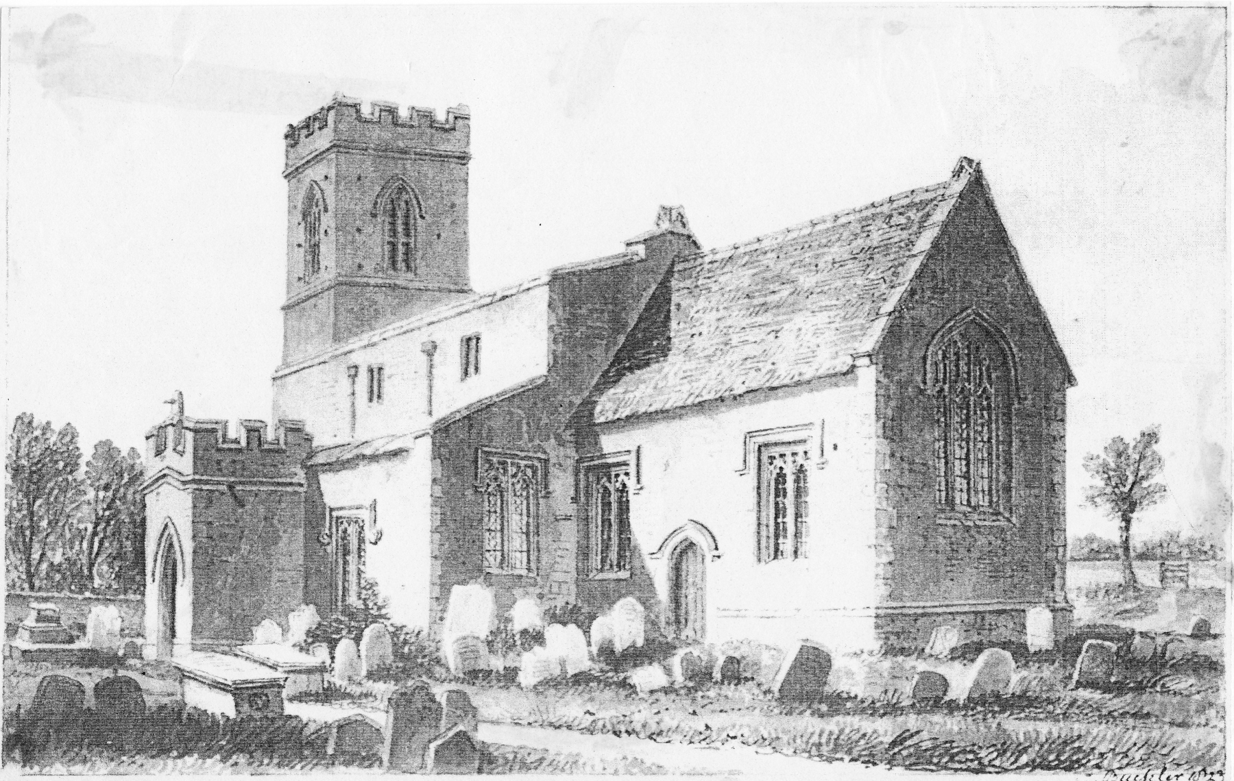 1823 South east view of Westcote Barton Church, Oxfordshire. Drawing by J C Buckler.