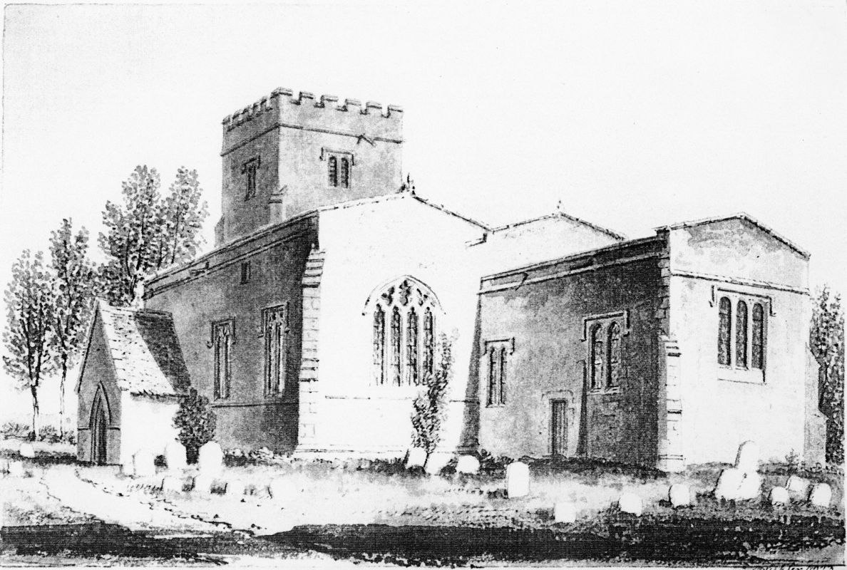 1823 South side of Westcote Barton Church, Oxfordshire. Drawing by J C Buckler.