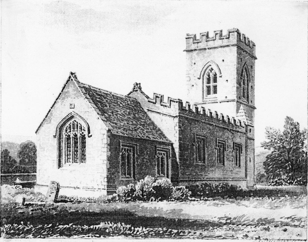 1823 North east view of Westcote Barton Church. Drawing by J C Buckler.