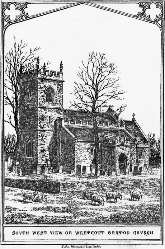 1870 Drawing in 'Memorials of Westcott Barton' by the Reverend Jenner Marshall.