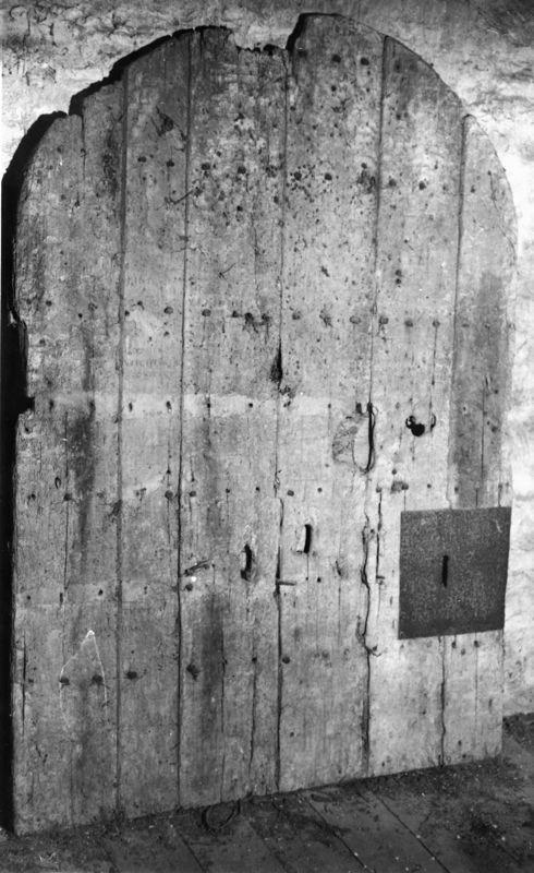 1989 The medieval door in the tower below the belfry.