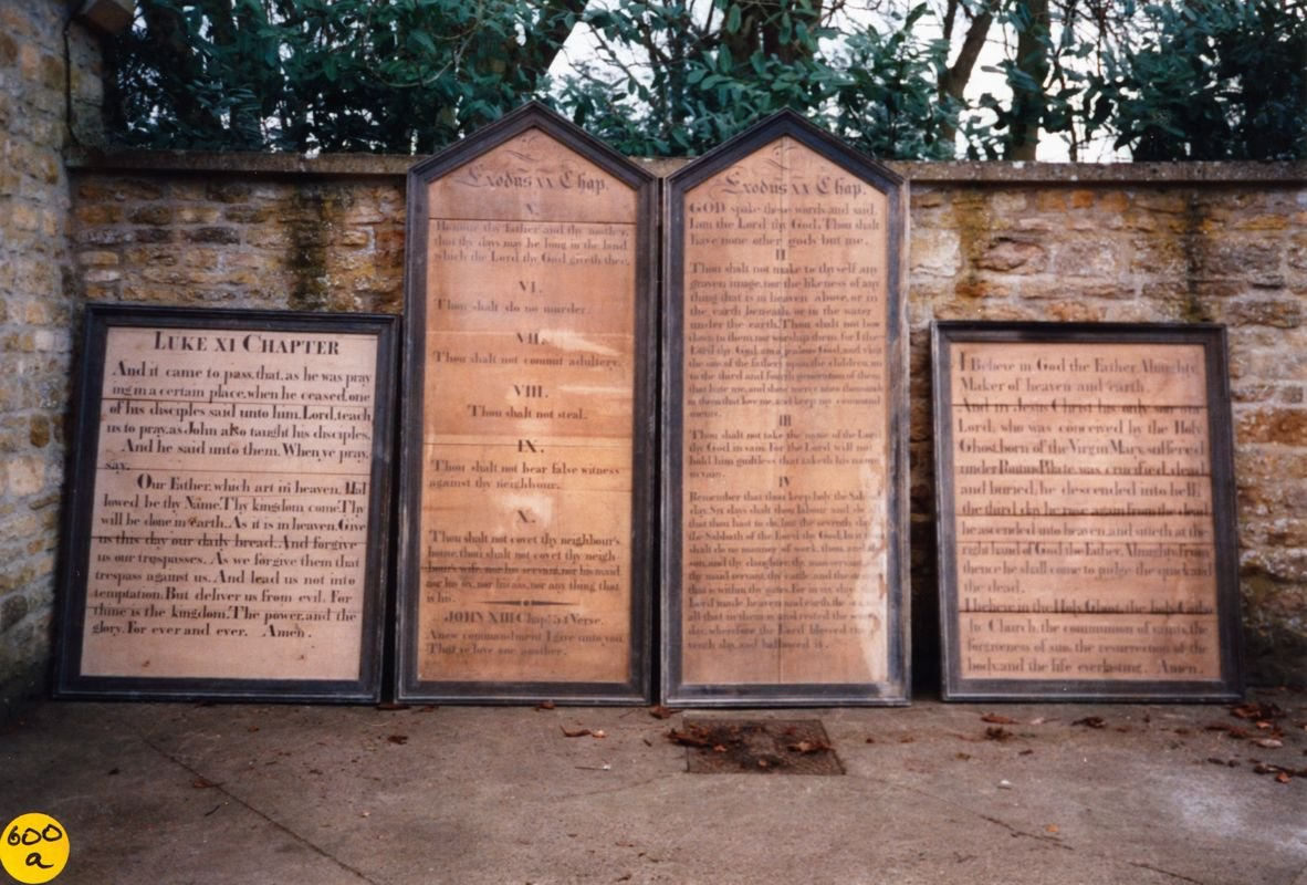 1995 Boards found at the old Rectory. Lord's Prayer, Ten Commandments and the Creed.